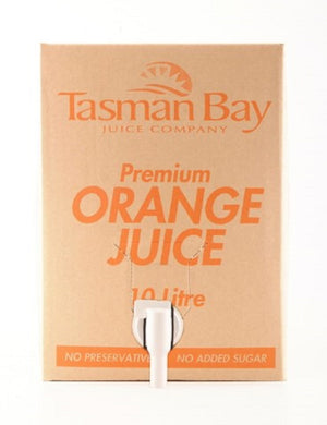 Cardboard carton with tap valve of Tasman Bay Juice Company Premium Orange Juice 10 litres, no preservatives, no added sugar.