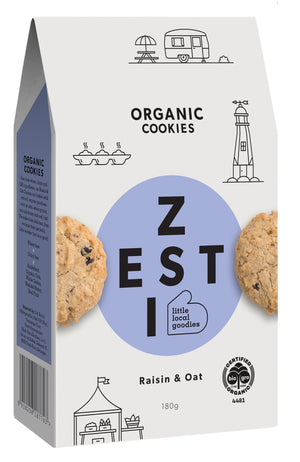 Zesti Organic Cookies Raisin & Oat Light blue spot