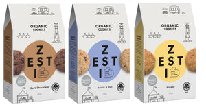 Zesti Organic Cookies 3 packs side view