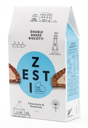 Zesti Double Baked Biscotti Blue spot Chocolate & Hazelnut.