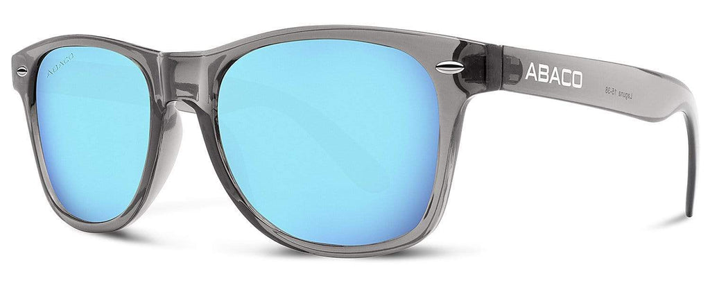Abaco Laguna Crystal Grey Sunglass Polarized Caribbean Blue Mirror Lens Side