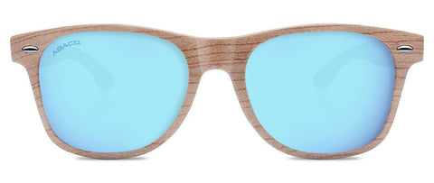 Abaco Tiki Grey Wood Sunglasses Polarized Caribbean Blue Lens Front