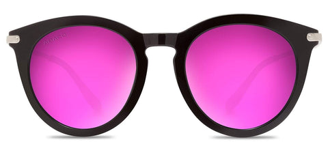 Abaco Bella Sunglasses Gloss Black/Rose Gold Frame Pink Mirror Polarized Lenses