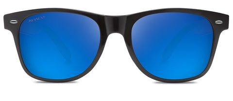 Abaco Waikiki Sunglasses Gloss Black Frame Polarized Blue Mirror Lenses