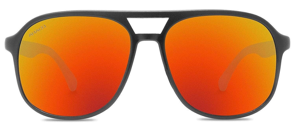 Abaco Pitbull Matte Black Bamboo Sunglass Polarized Citrus Mirror Lens Side