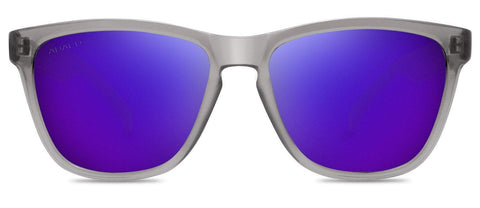 Abaco Kai Junior Crystal Grey Sunglass Polarized Purple Mirror Lens Front