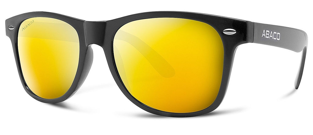 Abaco Waikiki Sunglasses Gloss Black Frame Polarized Gold Mirror Lenses