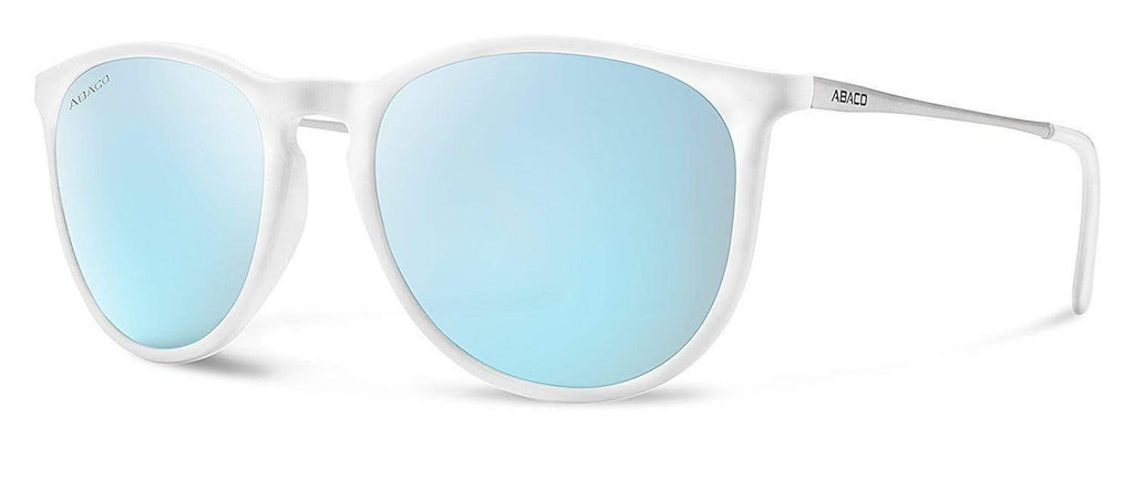 Abaco Piper Sunglasses Gloss White/Silver/White Frame Caribbean Blue Mirror Polarized Lenses
