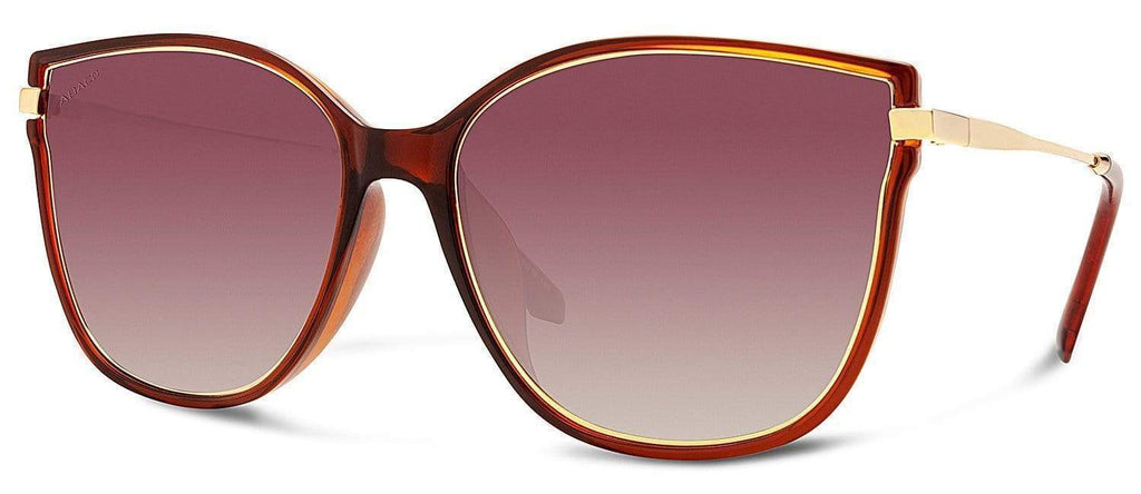 Abaco Ella Crystal Brown Sunglass Polarized Brown Gradient Lens Side