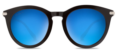 Abaco Bella Sunglasses Gloss Black/Chrome Frame Carribean Blue Polarized Lenses