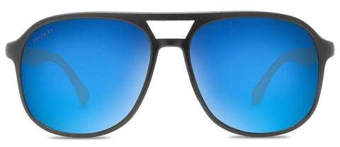 Abaco Pitbull Matte Black Bamboo Sunglass Polarized Blue Mirror Lens Front