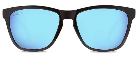 Abaco Kai Gloss Black Sunglass Polarized Caribbean Blue Mirror Lens Front