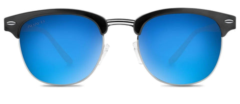 Abaco Montana Gloss Black Sunglasses Polarized Deep Blue Mirror Lens Front