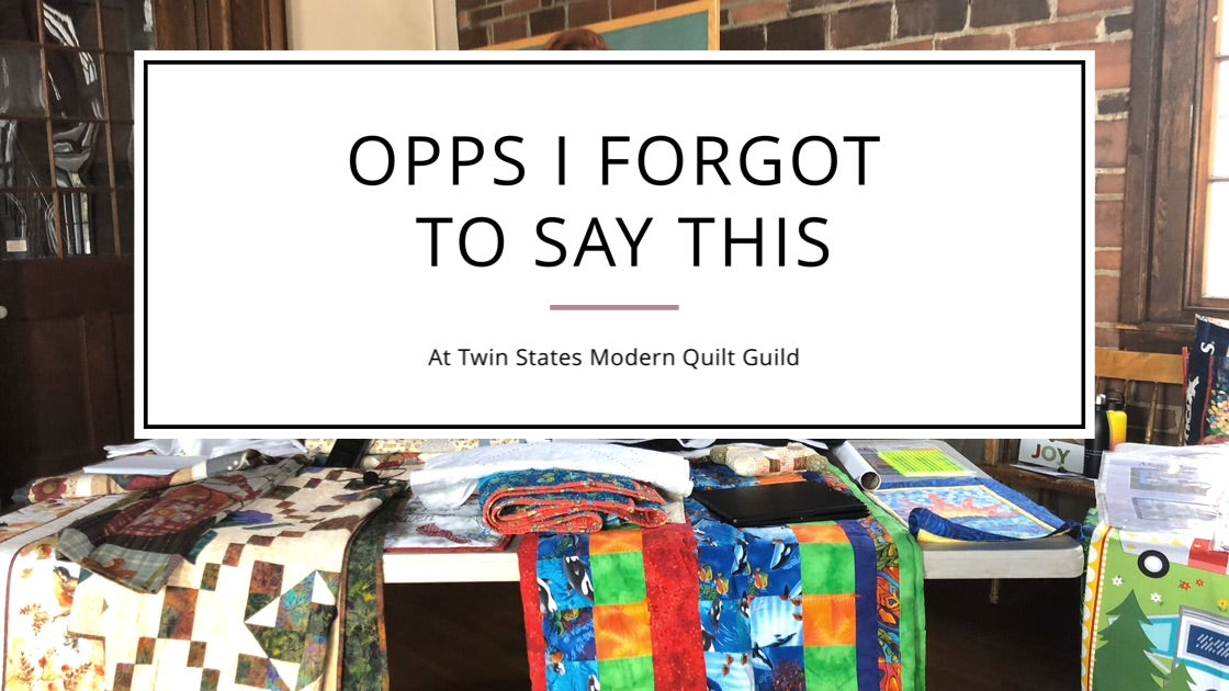 OPPS I forgot to say this at the Quilting your Legacy Presentation!