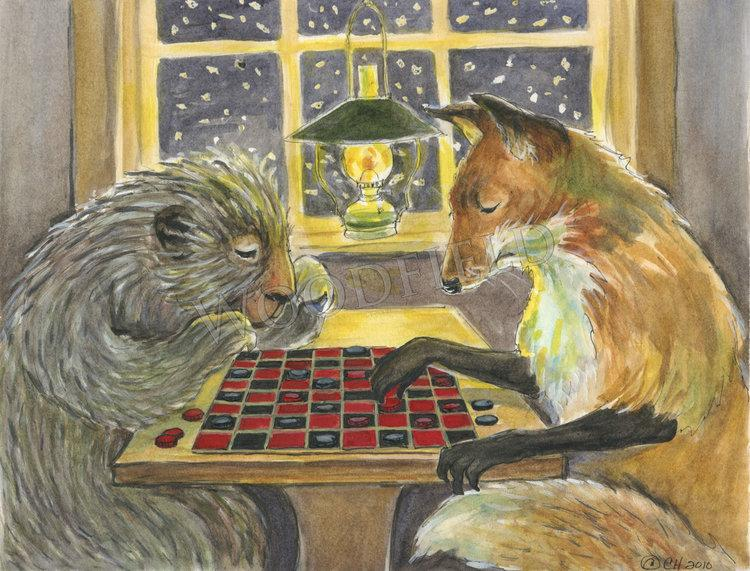 Playing Checkers Notecard - Woodfield Press