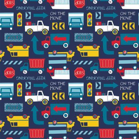 Blue Keep Trucking Flannel - Camelot Fabrics - 27190102B-2      Comfy Flannel