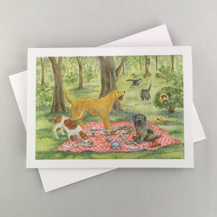 Bad Dog Picnic Notecard - Woodfield Press