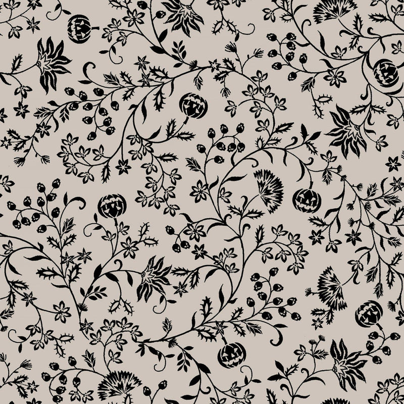 Grey Pumpkin Vines - 57255-19 - Spooky Nights - Studio E - Halloween Fabrics