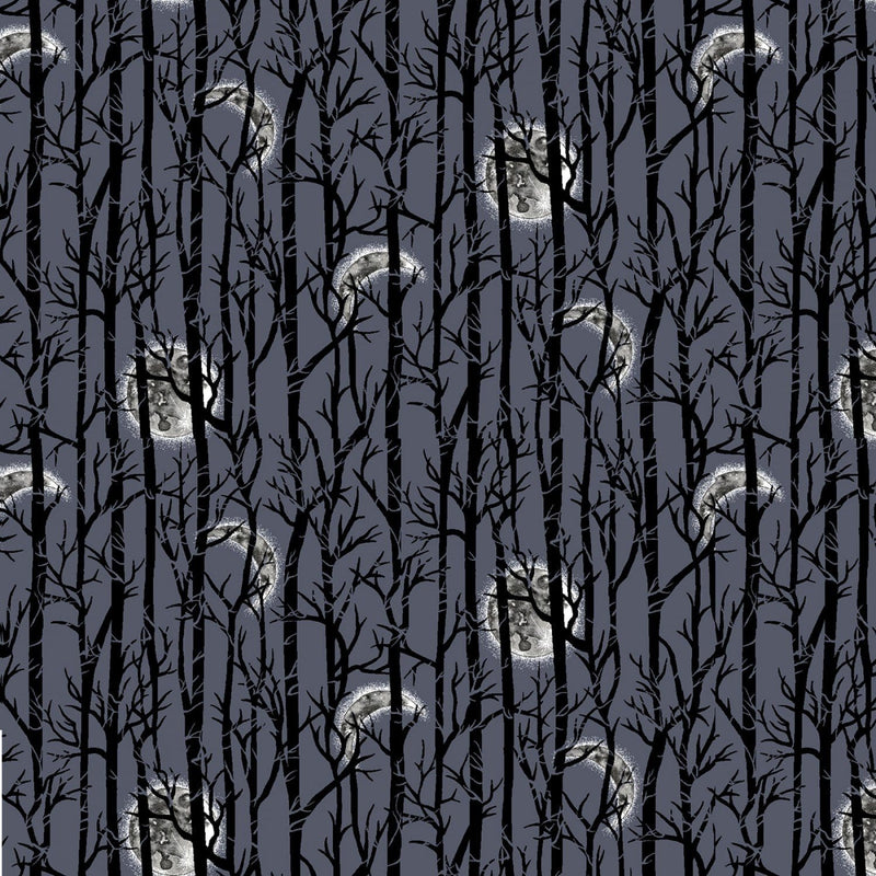 Midnight Moonlight Trees - 57265-97 - Spooky Nights - Studio E - Halloween Fabrics