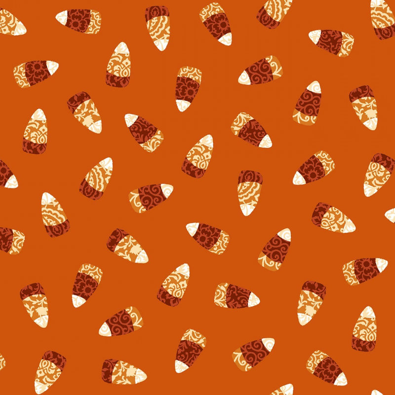 Orange Damask Candy Corn - 57215-33 - Spooky Nights - Studio E - Halloween Fabrics