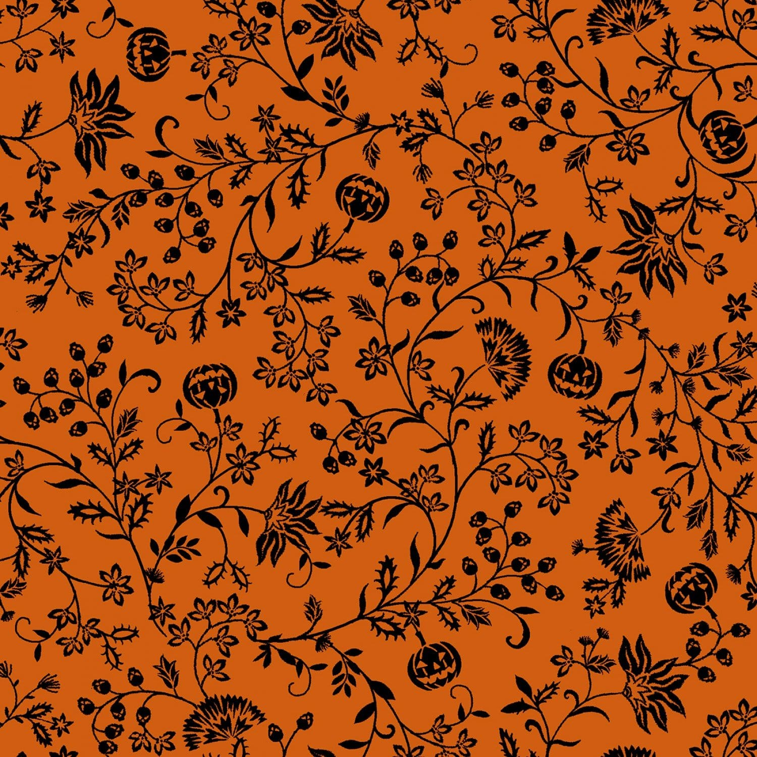 Orange Pumpkin Vines - 57255-33 - Spooky Nights - Studio E - Halloween Fabrics