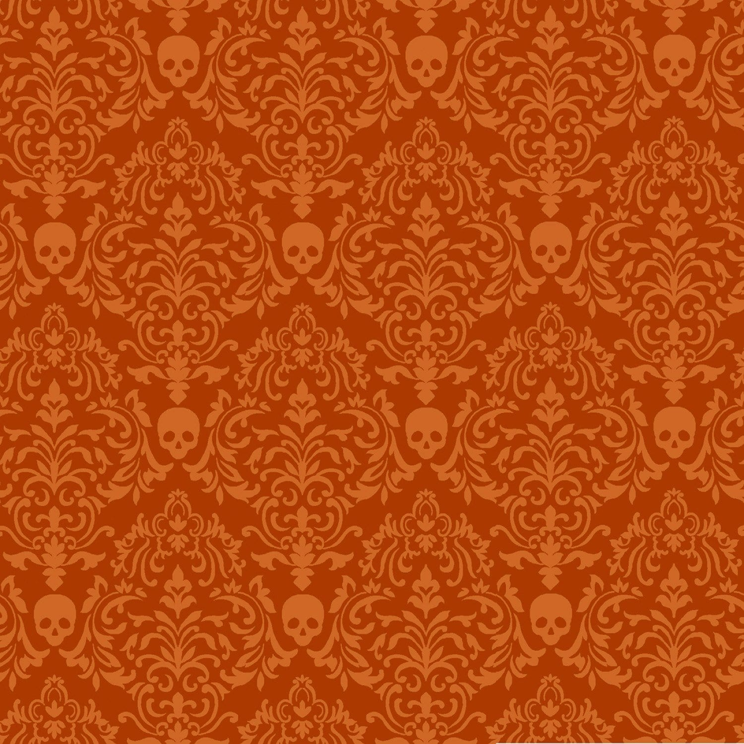Orange Spooky Small Damask - 57205-33 - Spooky Nights - Studio E - Halloween Fabrics
