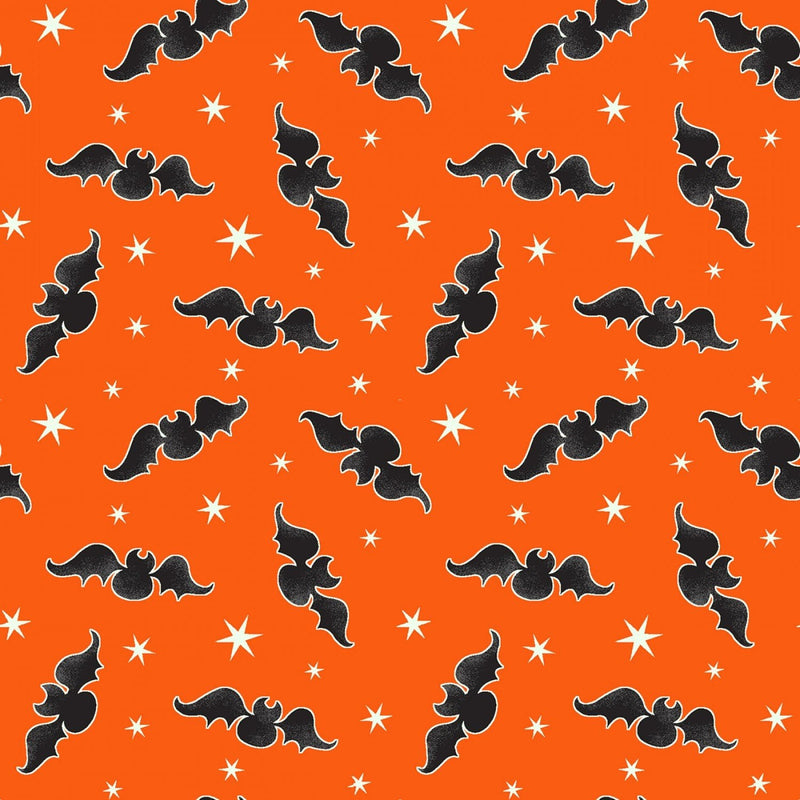 Orange Tossed Bats Glow in the Dark Fabric - 9537G-39 - Here We Glow Again - Henry Glass Fabrics - Halloween Fabrics