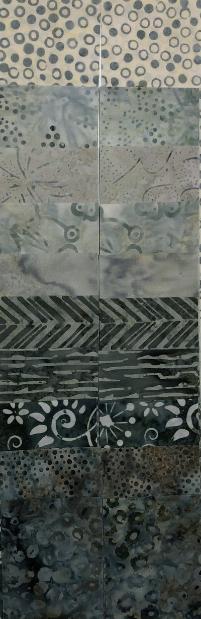 "2 1/2"" - Grey's into Teal Bali Batiks - 20 Strips"