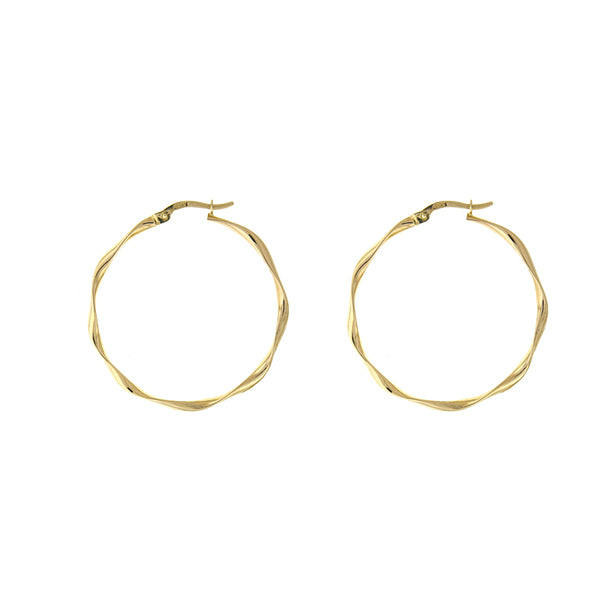 Soft Twist Solid Gold Hoops - Lauren Sigman Collection