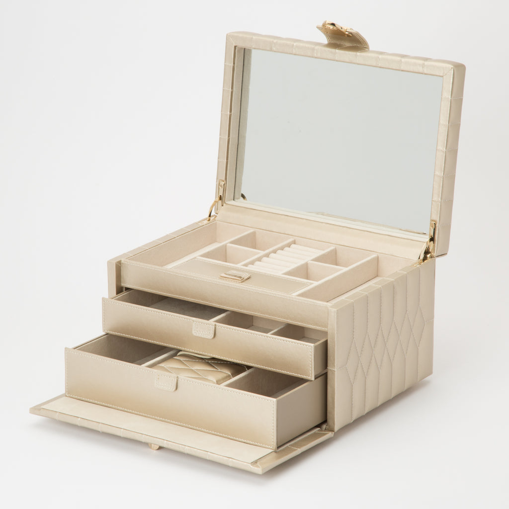 Caroline Large Jewelry Case (Champagne) - Lauren Sigman Collection