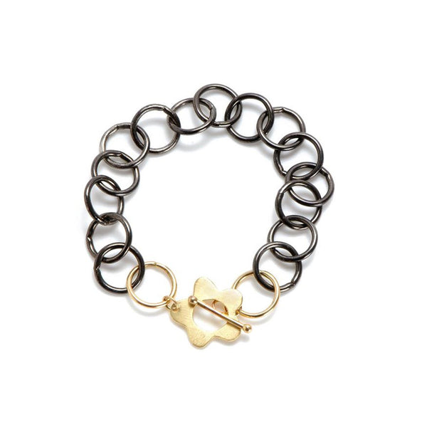 Black & Gold Wildflower Charm Bracelet - Lauren Sigman Collection