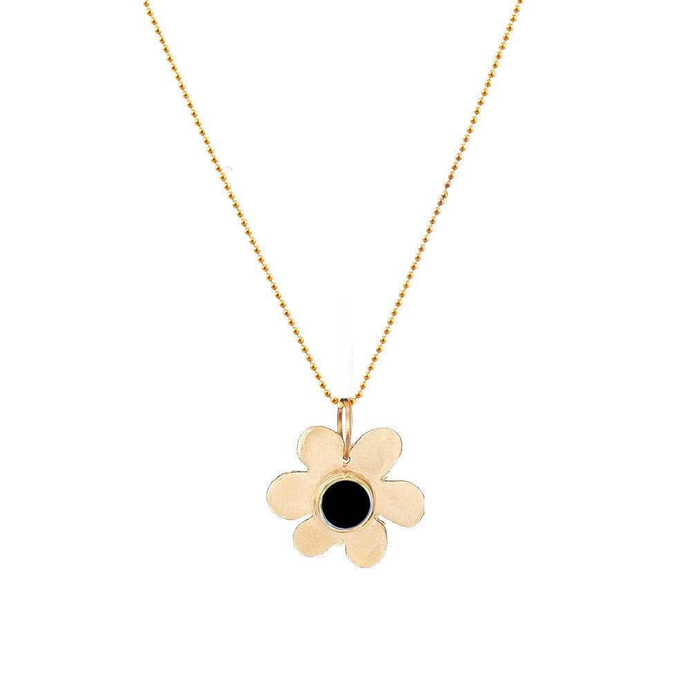 Black Spinel Daisy Pendant Necklace - Lauren Sigman Collection