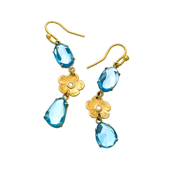 Blue Topaz with Orchid Diamond Earrings - Lauren Sigman Collection
