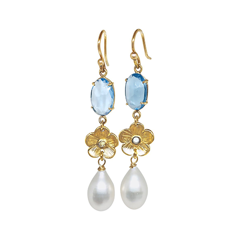 Blue Topaz, Petunia diamond and tear drop pearls - Lauren Sigman Collection