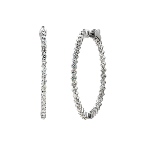 Diamond inside/outside hoops/2 CTS - Lauren Sigman Collection