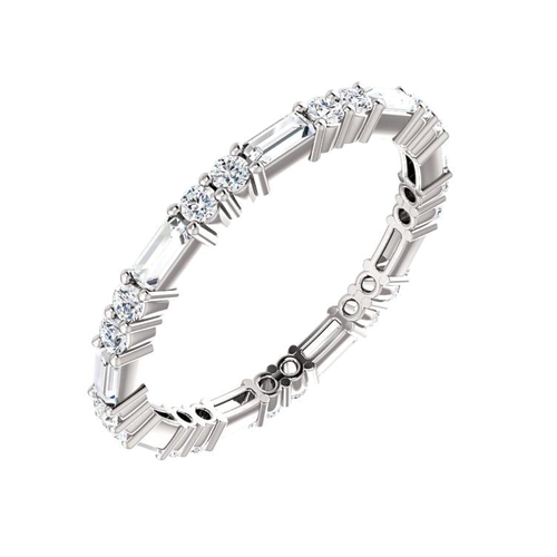 Diamond Round & Baguette Band - Lauren Sigman Collection