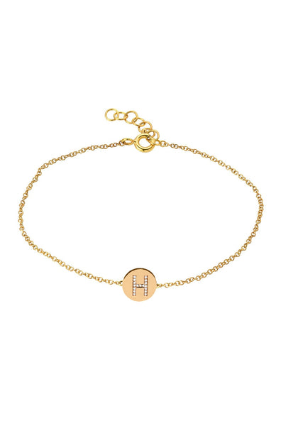 Diamond Initial Disk Bracelet - Lauren Sigman Collection