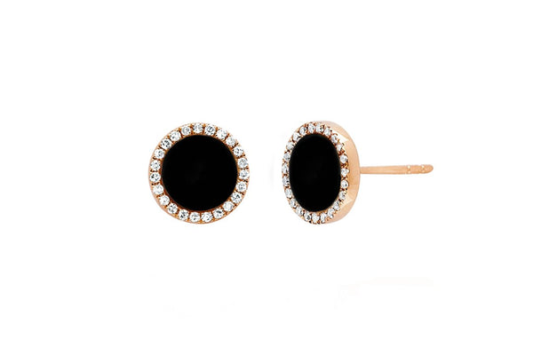 Diamond & Black Enamel Disc Stud Earrings - Lauren Sigman Collection