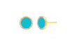 Diamond & Turquoise Enamel Disc Stud Earrings - Lauren Sigman Collection