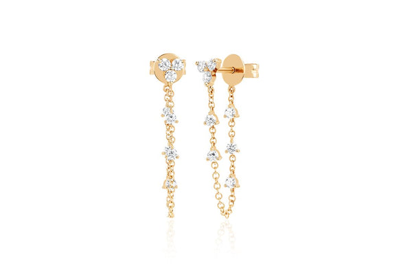 Trio Diamond Chain Stud Earrings - Lauren Sigman Collection