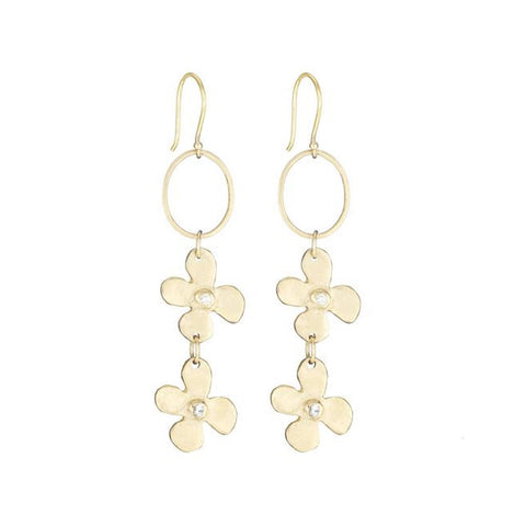 Double Lily and Diamond Earrings - Lauren Sigman Collection