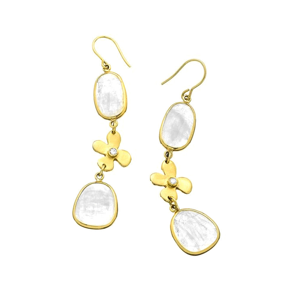 Moonstone Lily Earrings - Lauren Sigman Collection