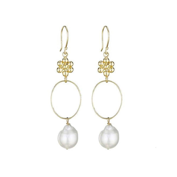 Ginger Pearl Hoop Earrings - Lauren Sigman Collection