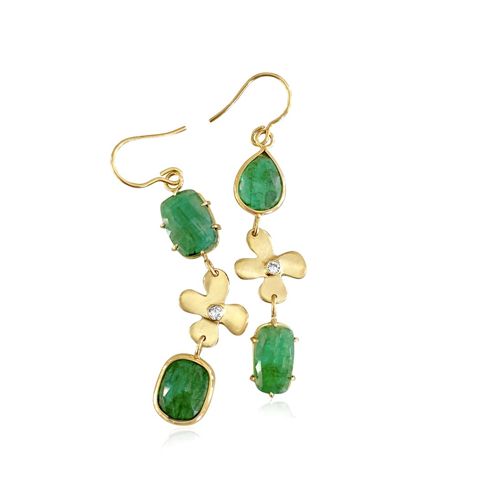 Emerald and diamond lily earrings - Lauren Sigman Collection