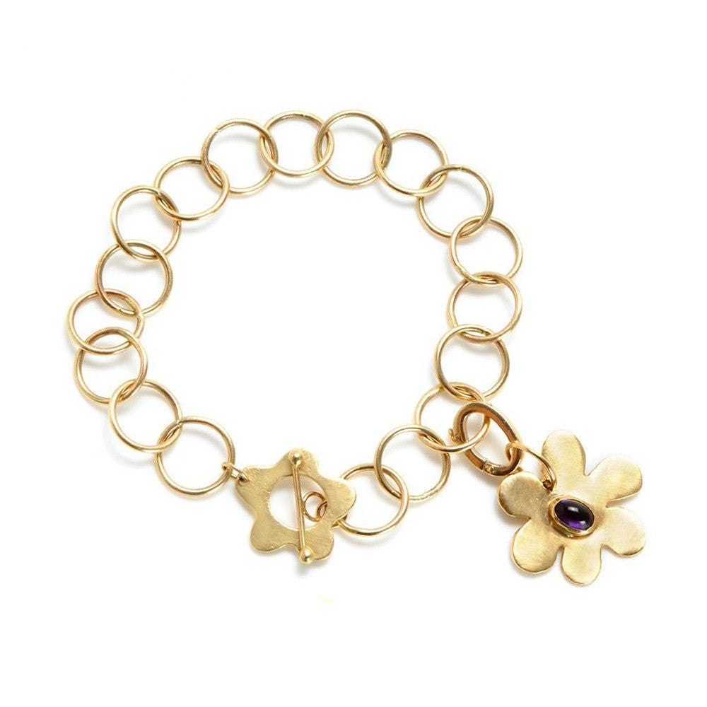 Gold Charm Bracelet with Wild Flower Clasp - Lauren Sigman Collection