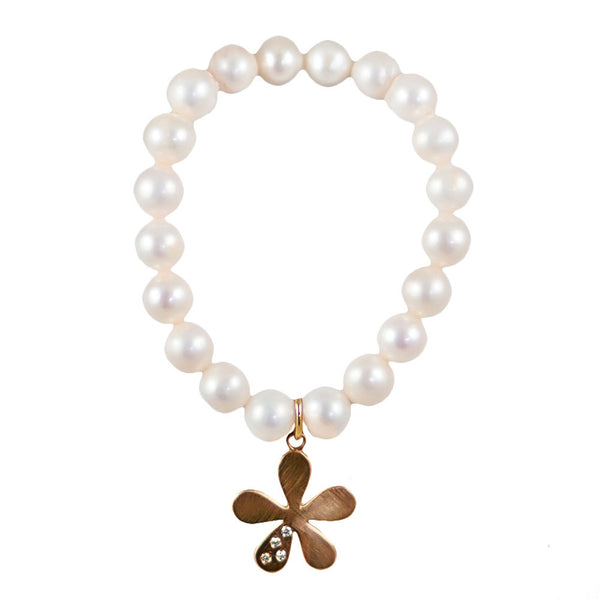 The Willow Pearl Bracelet & Gold Charm with Diamonds - Lauren Sigman Collection