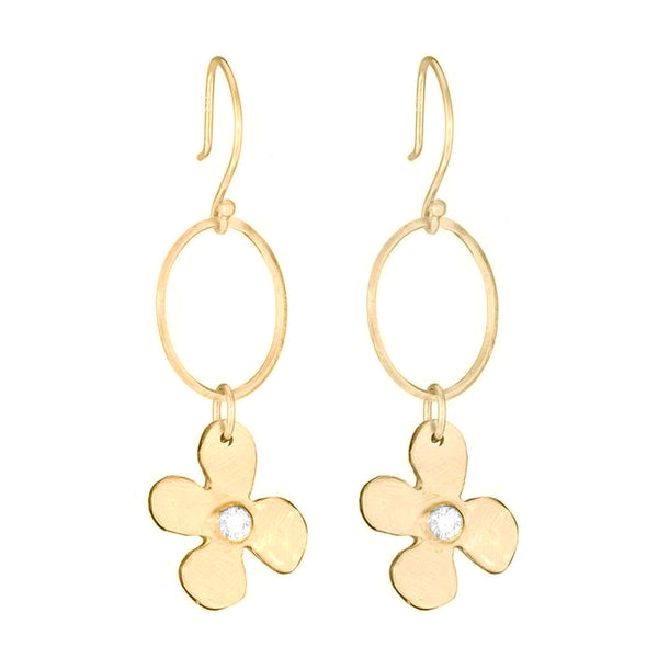 Single Lily and Diamond Earrings - Lauren Sigman Collection