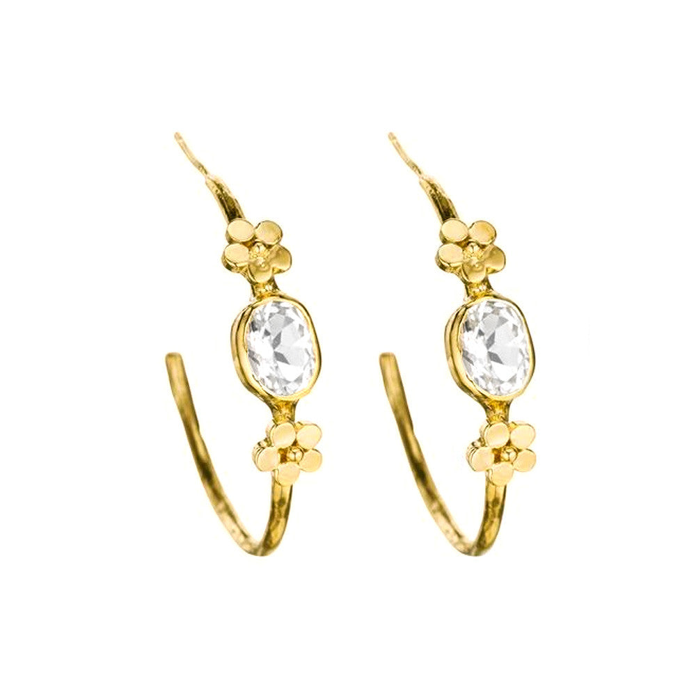 Rose Flower Hoop Earrings - Lauren Sigman Collection