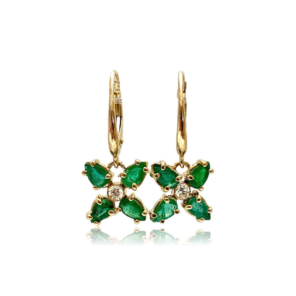 Emerald & Diamond Poinsettia Earrings - Lauren Sigman Collection