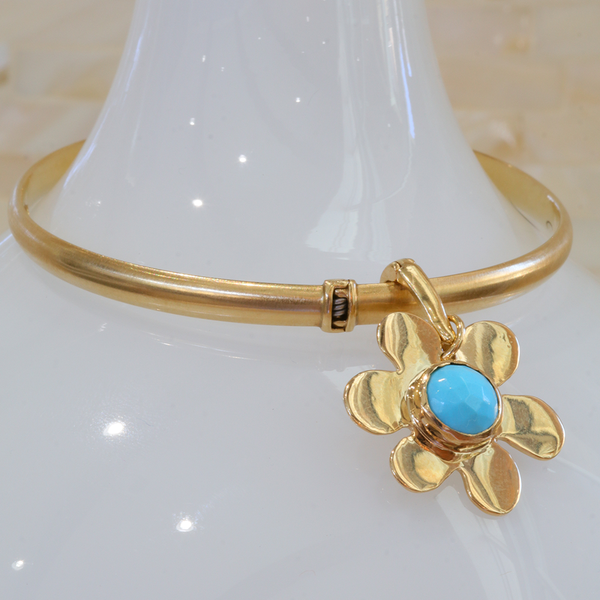 Gold bangle and Turquoise Daisy Charm - Lauren Sigman Collection